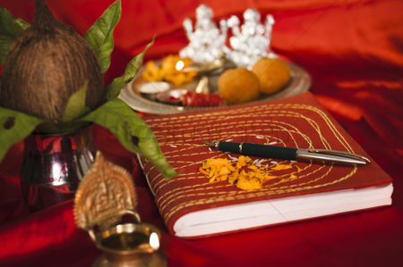 God : Lakshmi pujan with ledger book during diwali festival