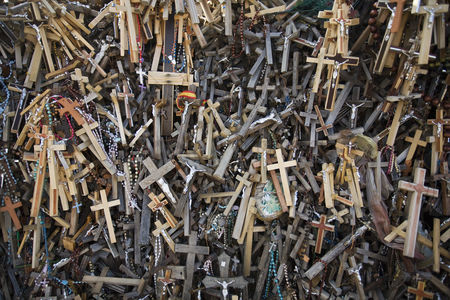 Religion : Lithuanian graveyard with wooden crosses