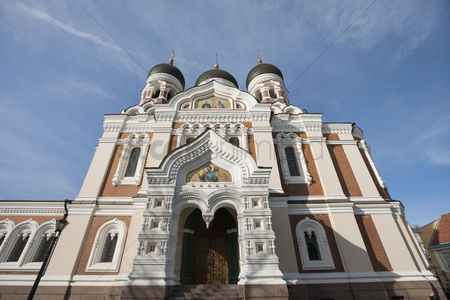 Religion : Low angle view of alexander nevsky cathedral against cloudy sky  tallinn  estonia  europe