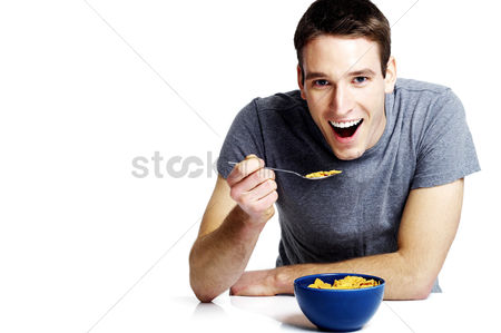 Appetite : Man having breakfast cereal
