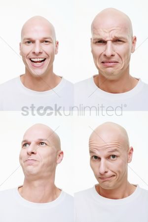 Frowning : Man making a series of exaggerated faces for the camera
