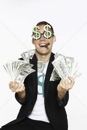 Dollar sign : Man with bank notes