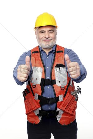 Respect : Man with hardhat showing thumbs up