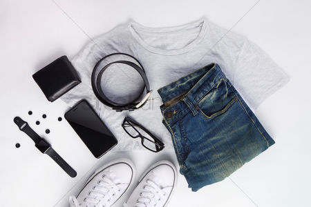 Flat : Men s clothing and accessories with white background