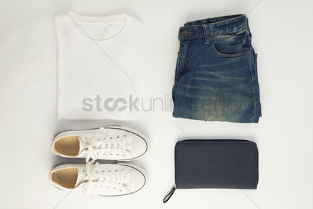 Flat : Men s clothing on white background