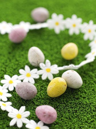 Easter : Mini eggs on grass