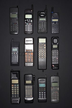 Sets : Mobile phones in rows view from above