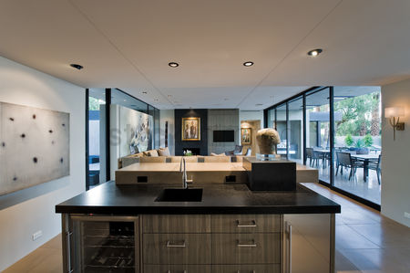 Sculpture : Modern kitchen with view of patio