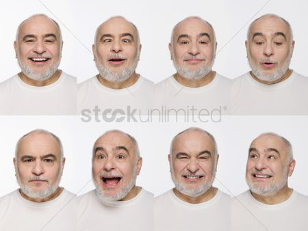Frowning : Montage of man pulling different expressions