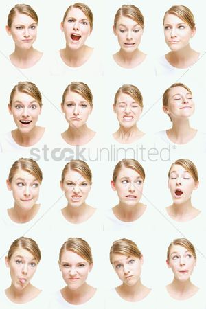 Frowning : Montage of woman pulling different expressions
