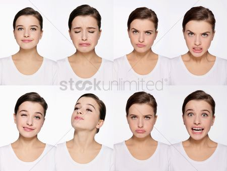 20 24 years : Montage of woman pulling different expressions
