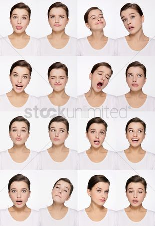 Contemplation : Montage of woman pulling different expressions