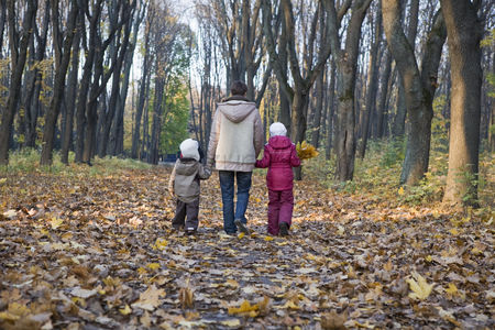Trees : Mother and children walking in park