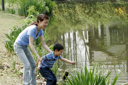 Cheerful : Mother and son in the park
