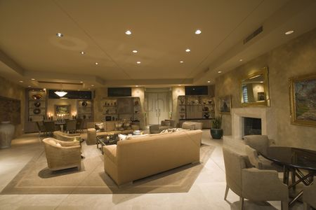 Furniture : Neutral living room in palm springs home