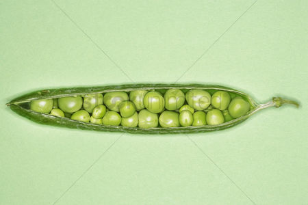 Food : Open pea pod containing peas close-up