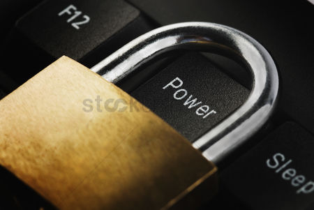 Forbidden : Padlock on a computer keyboard