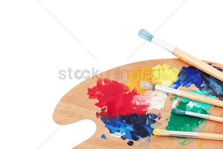 Creative : Paint brushes and wooden palette