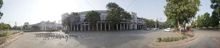 Large group of animals : Panoramic view of a market  connaught place  new delhi  delhi  india