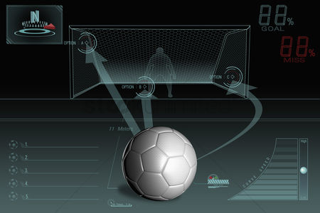 Match : Penalty kick infographic with plain soccer ball