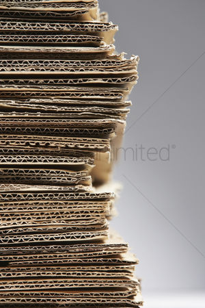 Pile : Pile of corrugated cardboard close-up