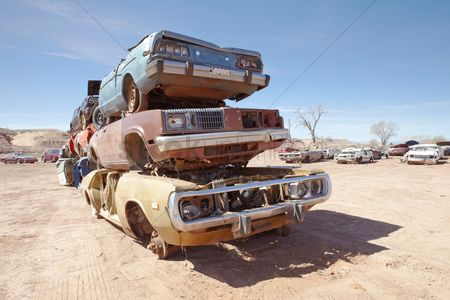 Transportation : Pile of scrap cars