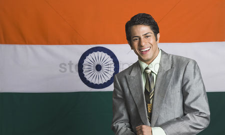 Respect : Portrait of a man in front of an indian flag
