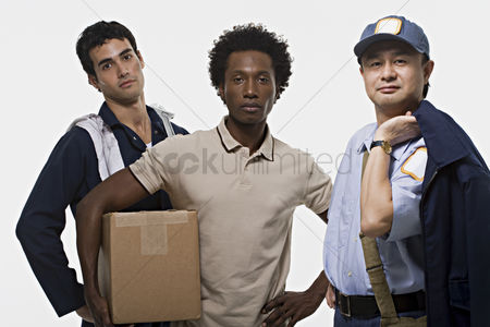Cardboard cutout : Portrait of a mechanic delivery man and postman