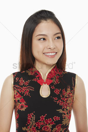 Lunar new year : Portrait of a woman smiling