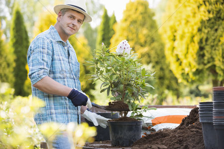 40 44 years : Portrait of confident man planting pot at garden
