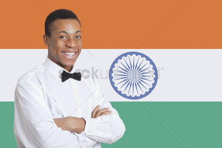 Respect : Portrait of mixed race man against indian flag