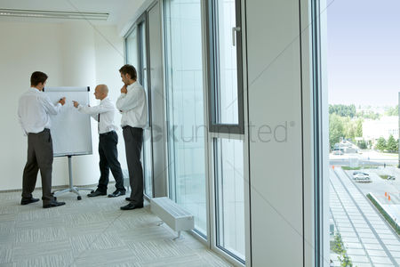 Spacious : Portrait of young caucasian business people in office