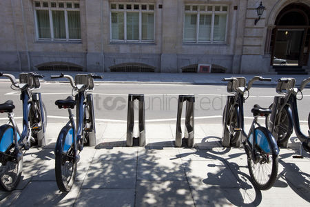 England : Public rental bicycles in a line london uk