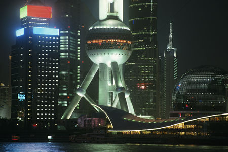 China : Pudong oriental pearl tower at night in shanghai china