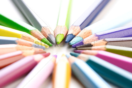 School : Rainbow colored pencils - close-up