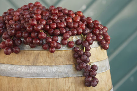 Grapes : Red grapes arranged on wine cask