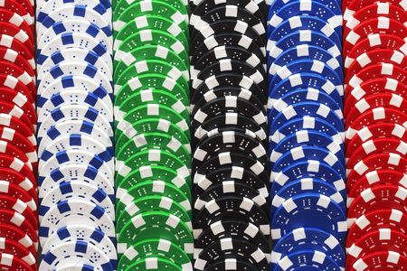 Pile : Rows of gambling chips close-up