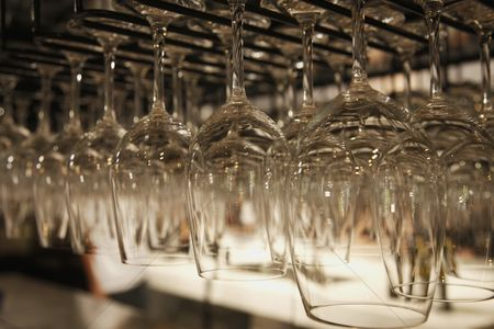 Refreshment : Rows of hanging wine glasses