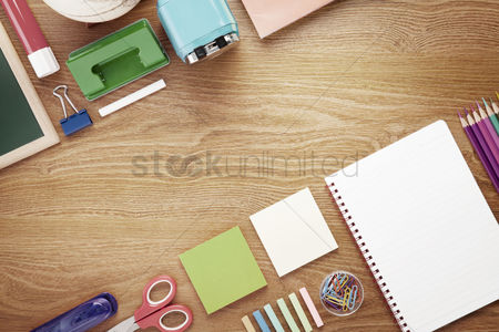 Notepad : School and office supplies on desk background with copy space