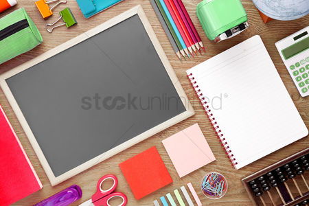 Blank : School supplies on desk background with copy space