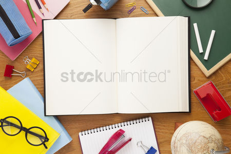 Notebook : School supplies on desk background with copy space