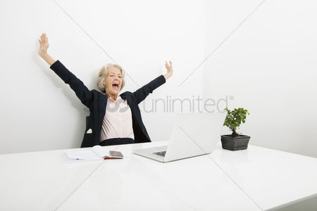 Office worker : Senior businesswoman yawning while looking at laptop in office