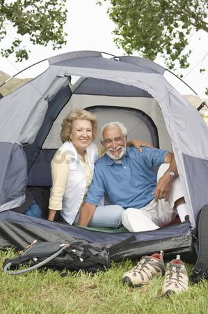 Pitch : Senior couple at entrance to tent
