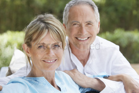 Two people : Senior couple in garden