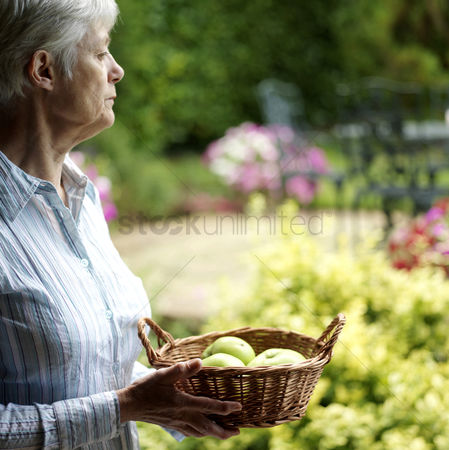 Adulthood : Senior lady holding a basket of fruits