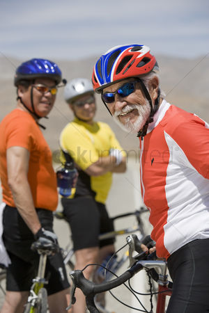 On the road : Senior men cycling