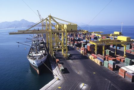 Transportation : Ship docking at cargo terminal