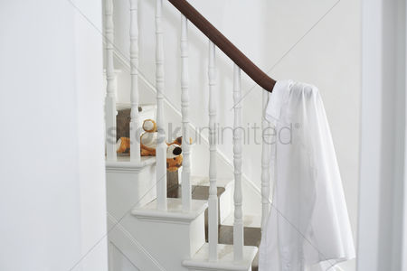 Staircase : Shirt hanging on banisters