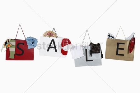 No people : Shopping bags with the word sale