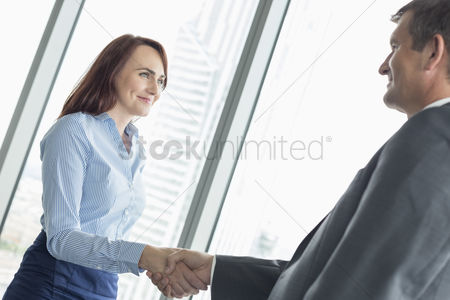 Three quarter length : Side view of business people shaking hands in office